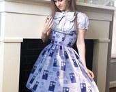 TARDIS Lolita Corset Dress- underbust corset dress, steel boned, custom made, custom printed fabric, Doctor Who inspired
