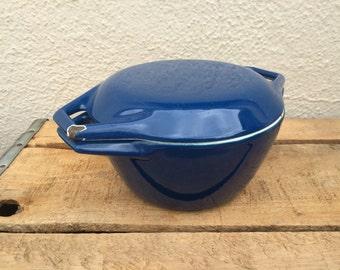Vintage DUTCH OVEN, Enameled Cast Iron, D1, Danish Cookware, Royal Blue, Vintage Cookware, Kitchen, Cottage, Enamel Cookware
