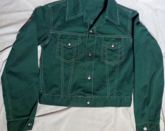 Boys Vintage Montgomery Ward Dark Green Snap Button Up Polycotton Jacket sz Large (50 % OFF APPLIED)