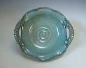 Blue Green Brie Baker or Dip Bowl with Wavy Rim and Textured Handles - in Stock