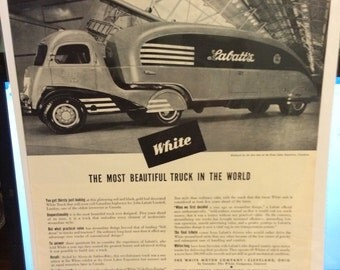 Whites Motor Company LaBlatts Beer Truck ad circa 1937! One of a kind ad!