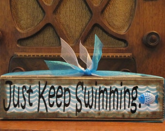 Just Keep Swimming Inspirational Sign Wood Block Decor Encouragement  Little Inspirations Block Sign