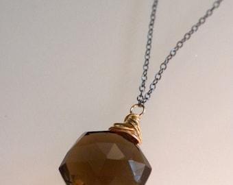 Ready To Ship - Custom Cut Smokey Quartz Necklace