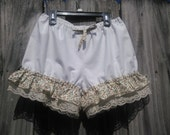 white or cream bloomers with cream lace and ruffles