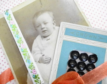 Sweet Cheeks  Vintage Baby Doll Petite Pearl Shell Carded  Sewing Buttons Antique studio Photograph Trims Project Suppy Lot
