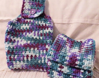Cotton Hand Towel and Wash Cloth Set Purple and Blue Ombre