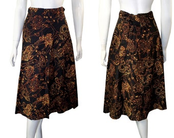 Vintage boho 1970s Batik Cotton Wrap Skirt Native Print Size Large