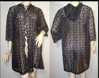 Jet black lace coat robe duster ~ One size ~ hood & front tie cloak cape medallions ~ scalloped ~ EGL Lolita ~ cut outs ~ see through topper