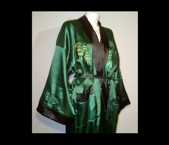 Long silk satin robe XL men women reversible emerald green