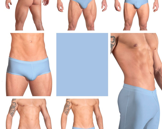 Solid Sky Blue Swimsuits for Men by Vuthy Sim.  Choose Thong, Bikini, Brief, Squarecut, Boxer, or Board Shorts - 17