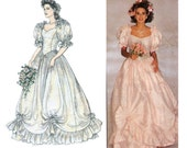 80s Wedding Dress Pattern Style 1496 Romantic Puffy Sleeves Ruffled Draped Bridal Gown Vintage Pattern Size 12 14 16 Bust 34 36 38 inches