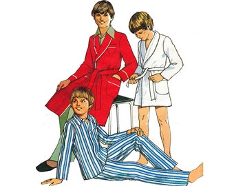 70s Toddler Boys Pyjamas and Robe Pattern Style 1374 Dressing Gown & Pajamas Kids Sleepwear Vintage Sewing Pattern Size 4 Chest 23 inches