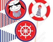 Little Sailor Girl Nautical Pennant Printable Party Banner Happy Birthday Girl- blue & Red. - Instant Download - Cupcake Toppers - 2,5""