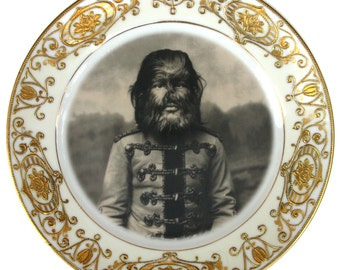 JoJo The Dog Faced Boy - Altered Antique Plate 7.5""