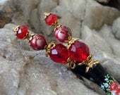 Pair of Hair Sticks - Red Rose Japanese Tensha Hairsticks - Red Roses and Swarovski Crystals Hair Accessories - Keiko