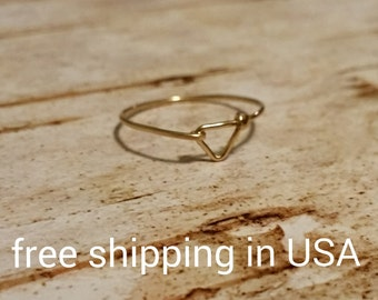 gold triangle ring FREE SHIPPING 14k gold filled