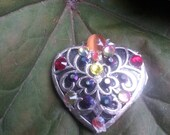 Jewel Box Bindi, re-useable bellydance / festival forehead gem, silver, purple, blue, green and red