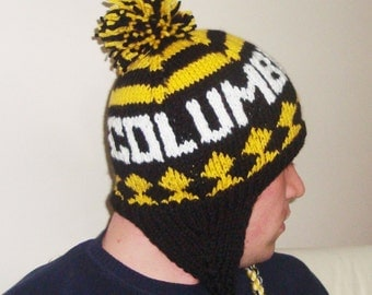 Personalized men's winter hat with ear flaps Columbus Crew Knit hat Winter hat for men Hand Knit hats in Black, Yellow, White gift for him