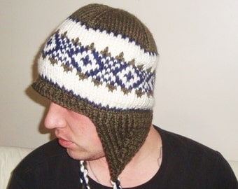 Hand Knit Hat Mens Hat with Ear Flap in Dark Green, blue, Cream Winter Man Hat