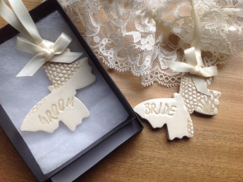 Bride And Groom Butterfly Wedding Gift Keepsake Ceramic Same