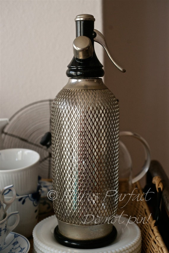 1960s silver mesh soda siphon by parisparfait on Etsy