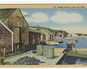 Fishing Shacks Cape Cod Massachusetts linen postcard