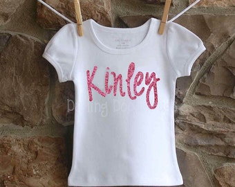 SALE Girls Glitter Puff Sleeve Shirt- Girls Sparkle Shirt- Girls Name Shirt Shirt