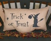 UNSTUFFED Primitive Pillow COVER Halloween Witch Country Home Decor Fall Decoration Trick Or Treat Decoration Pumpkin Broomstick wvluckygirl