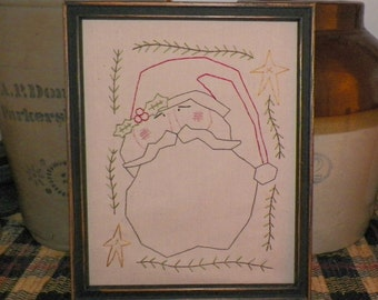 UNFRAMED Christmas Picture Santa Claus Primitive Stitchery Rustic Country Wall Decor Holiday Decorative Seasonal Decoration wvlulckygirl