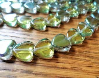 Sahara Green Mystic Glass Hearts 10mm Half Strand