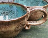 MADE TO ORDER Bohemian Coffeehouse Oversized Coffee Mug Dragonfly Peace Mehndi Tattoo Pink Blue Brown Rustic Earthy wheel thrown pottery