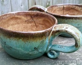 MADE TO ORDER Dragonfly Coffeehouse Oversized Coffee Mug Latte mug Blue Brown Rustic Earthy stoneware pottery wheel thrown pottery mug