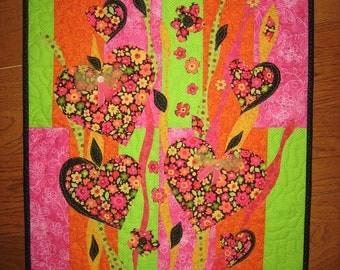 Hearts and Flowers Abstract Art Quilt Fabric Wallhanging Pink Green Orange Buttons Bows Girls Room Decor Small Wall Art Quilt Handmade