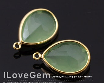 SALE/ 10pcs / NP-1705 Gold plated, Lt.Mint, Glass, Tear drop, Pendant
