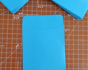 20 Blue Library Card Pockets Non-Adhesive