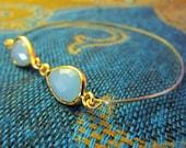 Aqua Chalcedony Gemstone Gold Filled Bangle Bracelet