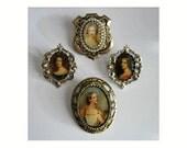 Vintage 80s Renaissance Portrait Brooches