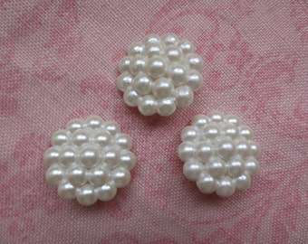 Vintage beautiful white cluster faux pearl plastic shank buttons. Wholesale lot of 3.