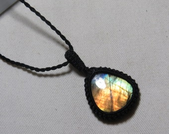 Labradorite - Marcrame Pendant - So Nice Full Flash Fire Tear Drops shape Pendant - Stone size 27x32 mm Approx