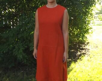 Dark Orange 60s Dress Vintage 1960s Mod Retro Sleeveless M L 38 Bust