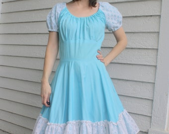Blue Square Dance Dress Country Dancing Western Rockabilly Full Skirt S M