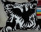 """BLACK AND WHITE Otomi Embroidered Pillow Cover Beautiful 20"""" X 20"""""""