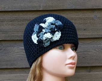 womens crochet beanie, womans crochet hat, girls beanies, black flower hat, hat with flower, vegan friendly, womens crochet beanie, 1458