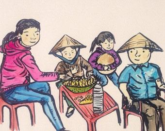 Vietnam. Art. Watercolour. Print. Sharing some jackfruit. Snack sellers in Hoi An, Vietnam.