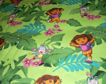 "Dora the Explorer cotton fabric  - Dora and Jingles  -  44"" wide - sold by the yard"