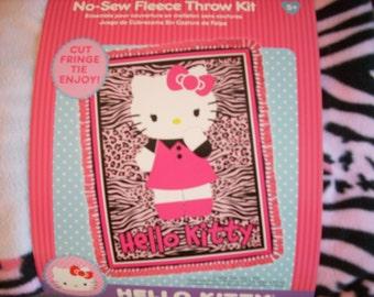 Hello Kitty - No Sew Fleece Blanket Kit - Animal skin background  - Finished size 48 x 60