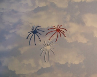 July 4th - Fireworks - Bursts - Glittered - Red -White - Blue