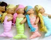 Marci Mermaid Cloth Rag Doll - MADE TO ORDER
