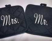 Pair of Mr. and Mrs. Monogrammed Pot Holders