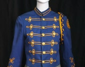 1960s vintage blue gold yellow MILITARY BAND marching embroidered crop cropped short JACKET patches S